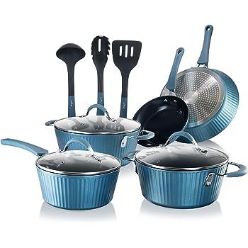 NutriChef NCCW11BL Nonstick Cookware Excilon Home Kitchen Ware Pots & Pan Set with Saucepan, Frying Pans, Cooking Pots, Lids, Utensil PTFE/PFOA/PFOS free, 11 Pcs, Blue