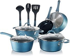 Nutrichef Nonstick Cookware Excilon Home Kitchen Ware Pots & Pan Set, Blue, 11 Pcs, NCCW11BL