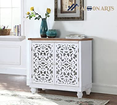 MAISON ARTS White Buffet & Sideboard Accent Storage Cabinet with 2 Doors for Living Room Decorative Distressed Cabinet Fa