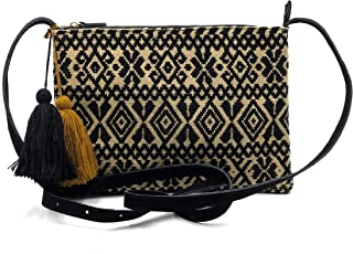 """Crossbody """"Vicenta"""", hecho por Jühue Artesanal, Crossbody artesanal hecho en Mexico, Bolsa Negro, bordado a mano, pieza un..."""