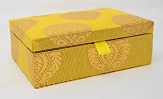 Desi Favors Set of 4 Brocade Fabric Favor Boxes for Jewelry Shagun Return Gifts - Yellow and Orange