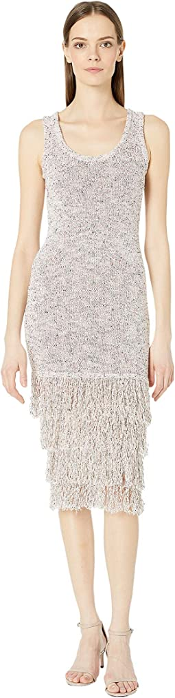 Sleeveless Midi Length Knit Dress with Tiered Fringe