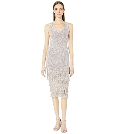 Cushnie Sleeveless Midi Length Knit Dress with Tiered Fringe (White Multi) Women