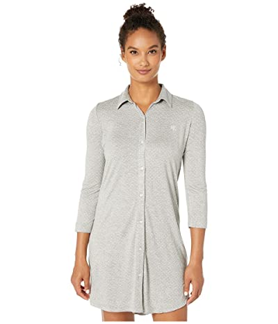 LAUREN Ralph Lauren 3/4 Sleeve Short Sleepshirt (Grey Dot) Women