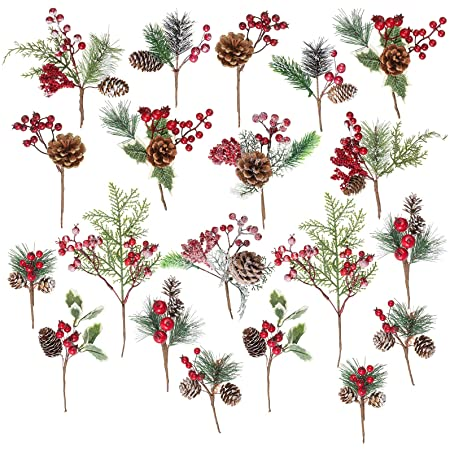 Package of 6 Autumn Mixed Berry and Leaf Picks