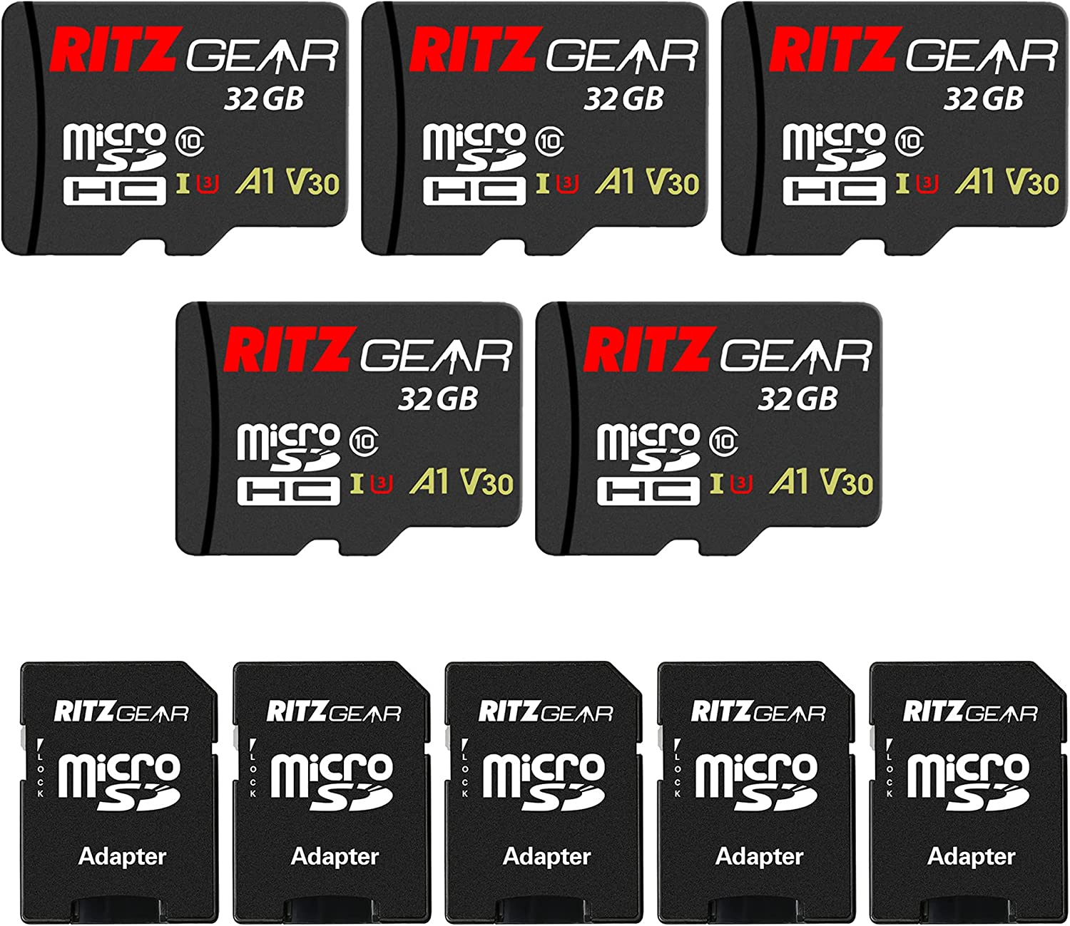 RitzGear Extreme Performance 32GB MicroSDHC Memory Card (5-Pack), Class10 V30 A1 U3 UHS1, Micro SD Card Designed for SD Devices That can Capture Full HD, 3D, and 4K Video as Well as raw Photography