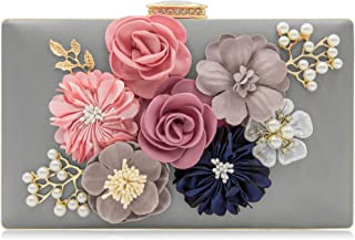 Milisente Evening Bag for Women, Flower Wedding Evening Clutch Purse Bride Floral Clutch Bag