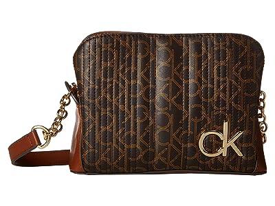 Calvin Klein Paige Quilted Monogram Crossbody (Brown/Khaki/Luggage Saffiano) Cross Body Handbags