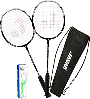 Jaspo Cosmo-EZ-100(2 Racket+Carry Bag+Feather Shuttle Cork(5Pack)(Multi-Colour)