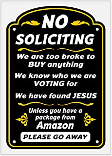 Funny No Soliciting Sign - Static Cling Sticker - 5� x 7�