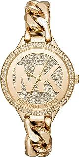 Michael Kors Women's 38mm Goldtone Pav= Slim Runway Chain Link Watch