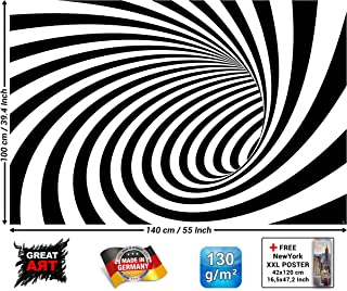 Poster – 3D Black and White Tunnel – Modern Design Wallposter Doppler Effect Abstract Graphic Poster Tunnel Optic Mural Wall Decor (55 x 39.4 Inch/ 140 x 100 cm)