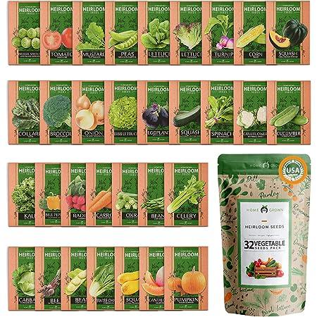 32 Heirloom Vegetable Seeds for Planting - Over 15,000 Survival Garden Seeds - Essential Emergency Prepper Gear - Non-GMO Vegetable and Fruit Seeds for Planting - Garden Variety Pack - Bug-Out Seeds