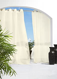 Outdoor décor Escape Water Repellent Sheer Outdoor Curtain, 54 X 108, Ivory