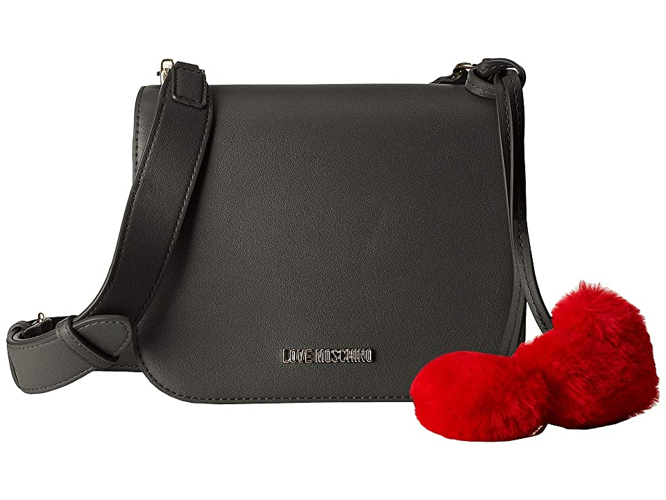 LOVE Moschino - LOVE Moschino Crossbody Bag with Faux Fur Hearts