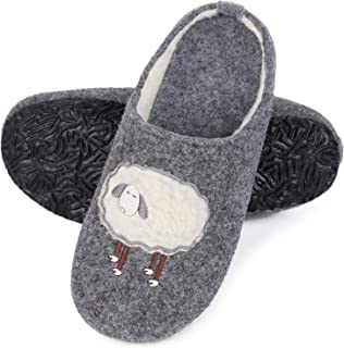 MERRIMAC Women's Comfort Faux Wool Felt Slippers Anti Skid Moveable Insole Slip-on House Shoes with Cute Lamb Decor