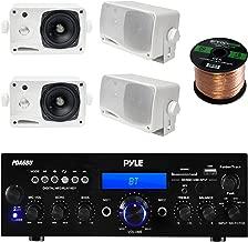 Pyle PDA6BU USB/SD-Card 200-Watt Bluetooth Stereo Amplifier Receiver, 4x Pair PLMR24 Pyle 3.5'' 200 Watt 3-Way Weather Proof Mini Box Speaker System (White), Enrock Audio 16-Gauge 50 Foot Speaker Wire