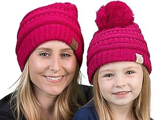 Mother(NO POM)/Daughter(POM) Winter Hat Bundle - Hot Pink