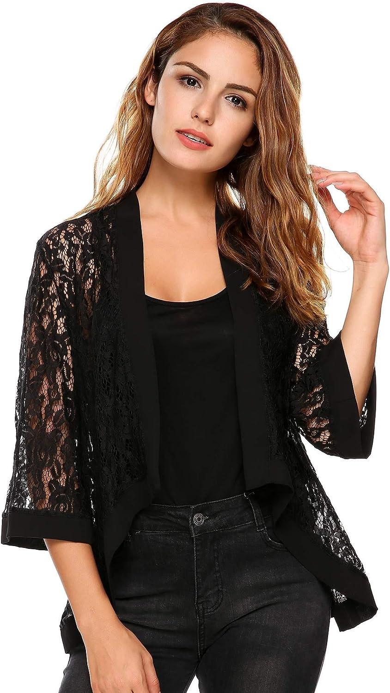 Grabsa Women's 3 4 Sleeve Lace Cardigan Sheer Jacket Crochet Cover up
