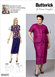 McCall's Patterns B6605MIS BUT 6605 Casual Butterick B6605 XS-XL/12-20 Sewing Pattern Ladies Jacket Style Short Sleeve Blouse & Wrap Skirt