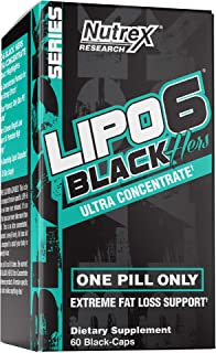 Nutrex Research Lipo-6 Black Hers Ultra Concentrate | Fat Burner Pills for Women | Hair, Skin, Nails Support | 60Count