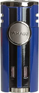 Xikar High Performance HP4 Diamond Quad Flame Cigar Lighter, in Attractive Gift Box, in-line Fuel Adjustment Wheel, Oversized Double EZ-View Fuel Windows, Lifetime Warranty, Blue