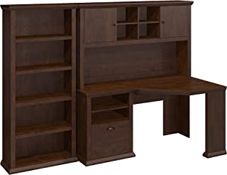 Bush Furniture Yorktown Corner Desk with Hutch and Bookcase in Antique Cherry