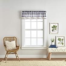 Curtainworks Seaton Plaid Kitchen Curtain Window Valance, 14-inch, Navy