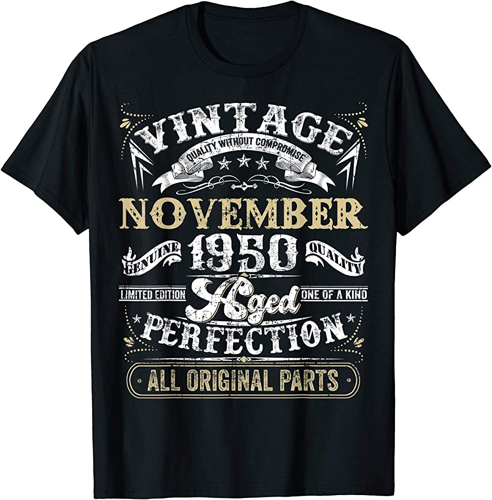 Classic 69th Birthday Gift Men Women Vintage November 1950 T-shirt