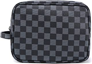 Luxury Checkered Toiletry Bag, Travel Cosmetic Wash Bag Unisex Make Up Bags Vintage PU Vegan Leather Travel Shaving Dopp Kit with Handle (Black)
