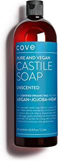 Cove Castile Soap Unscented - 33.8 oz / 1 Liter - Organic Argan, Hemp, Jojoba Oils