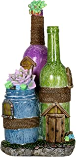 Exhart Solar Wine Bottles with Succulents Fairy House Garden Statue in Purple and Green - Hand-Painted Wine Bottles Resin Statue w/Solar LED Accent Lights - Fairy House Decor for Garden, 14 Inches