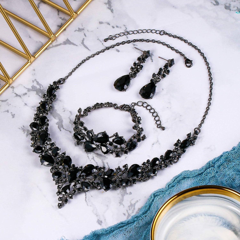 BriLove Wedding Bridal Jewelery for Women Austrian Crystal Teardrop Cluster Statement Necklace Dangle Earrings Link Bracelet Set