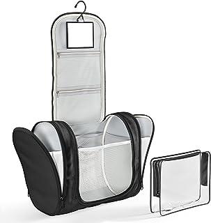 Necessär med Hängkrok & Transparent Handväska, Sminkspegel | Premium Stor Toalettväska Vattentålig - Toalettartiklar Rakni...