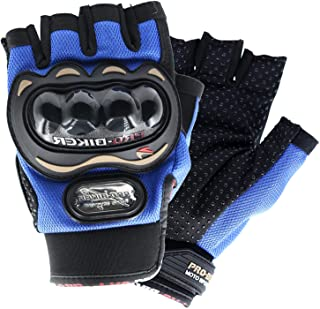 MUYDZ Open Fingered Gloves Knuckle Motorcycle Motorbike Powersports Racing Safety Gloves Outdoor Gloves for Men and women (Blue, M)