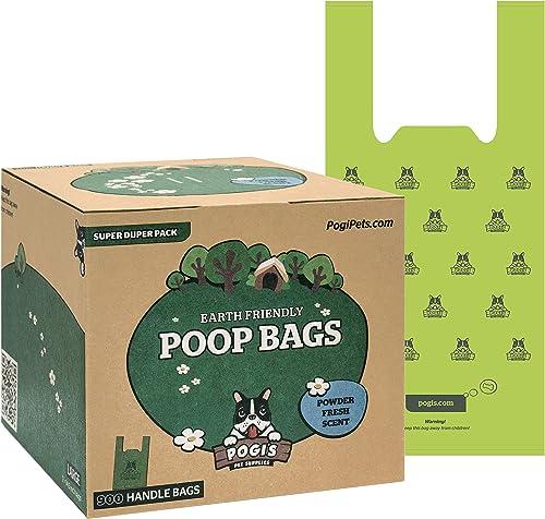 Pogi's Poop Bags - 900 Bags with Easy-Tie Handles - Large, Earth-Friendly, Scented, Leak-Proof Pet Waste Bags