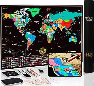 Mapa del mundo para rascar con estados y banderas, póster