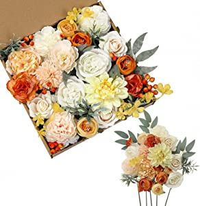 SERRAFLORA 18Heads Multi Use Artificial Flowers Combo for DIY Wedding Bridal Bouquet Table Chair Decor Candle Holder Baby Cake Decor Flower Strips Home Decor Gift Box (Warm Orange White)