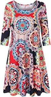 Womens Floral 3/4 Sleeve Round Neck Tunic Shirt Dress with Pockets