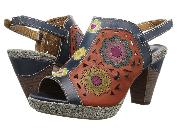 70s Shoes, Platforms, Boots, Heels LArtiste by Spring Step Belen Navy Womens Sandals $99.95 AT vintagedancer.com