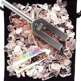 otch クリスタル チューナー 音叉 ヒーリング 天使の扉 4096hz 浄化 天然水晶 浄化用 さざれ石付き 4点 セット