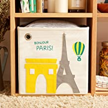 kaikai & ash Toy Storage Bin, Box Cube Basket Organizer for Baby Kids and Sprouts, 13 inch Canvas, Paris