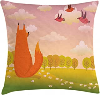 Jean Leopolde Animal Fox Wildlife Pillow Cover Anti Allergy Mite and Bed Bug Proof Linen Throw Pillow case 24 x 24 Inch Square Hypoallergenic - Wrinkle Resistant Pillowcase