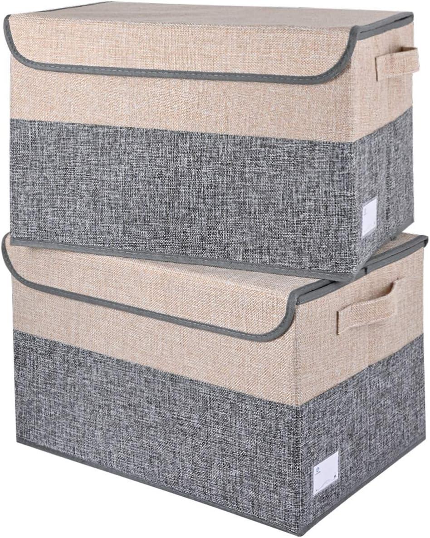 E-MANIS Caja de almacenamiento plegable grande con tapa, cesta de almacenamiento de tela con asas para organizar estanterías, armarios de habitación de los niños, armarios y oficina