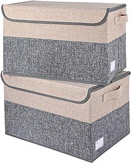 E-MANIS Lot de 2 grandes boîtes de rangement pliables avec couvercle, paniers de rangement en tissu avec poignées pour org...