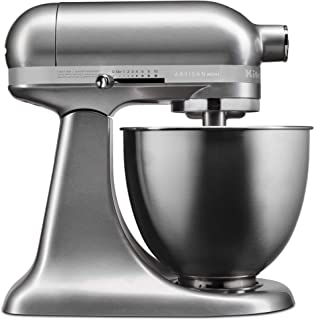 KitchenAid KSM3311XCU Artisan Mini Series Tilt-Head Stand Mixer, 3.5 quart, Contour Silver (Renewed)