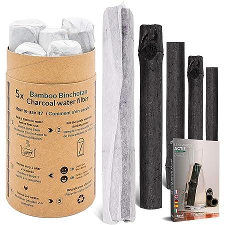 orinko Binchotan Bio 5X   Charbon Actif Binchotan de Bambou pour Purification d'eau en Carafe   Passez-Vous des Eaux en Bouteille Grâce à Notre Charbon Actif [Satisfait ou Remboursé]