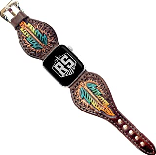 Western Series Watch Band Compatible with Apple Watches   Tear Drop Brown Tricolor Feather Black Adaptor and Buckle 42MM   Handmade and Tooled Leather Watch Band for Men and Women