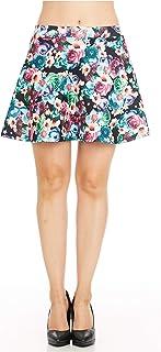 FGR Fashion Elastic Waistband Flare Vintage Skirts for Women