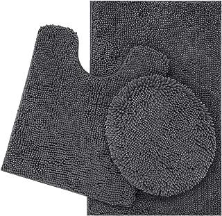 3pc Solid Black Non Slip Soft Bath Rug Set for Bathroom U-Shaped Contour Rug Mat and Toilet Lid Cover New # Angela